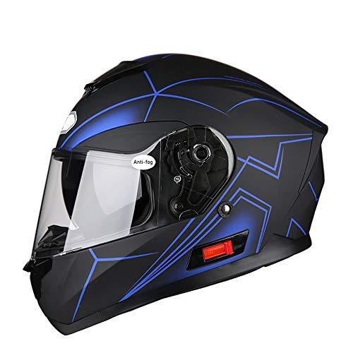 YAJAN-helmet Casco Integrale Omologato per Moto Rapid con Doppia Visiera, Interno Sfoderabile e Lavabile, Chiusura Micrometrica Cinturino Blu Opaco 58cm-63cm