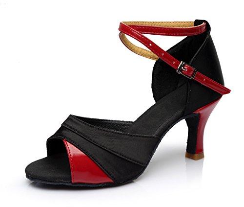 VESI - Damen Hoher Absatz Tanzschuhe Standard/Latein Rot 41(Absatz 7cm)