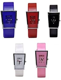 Freny Exim Sophisticated Set Of 5 Blue Red Black White And Pink Square Dial Soft Strap Analog Women Watches For...