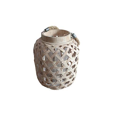 Laterne aus Bambus, Shabby-Chic-Stil, mit natürlichem Finish, handgefertigt -