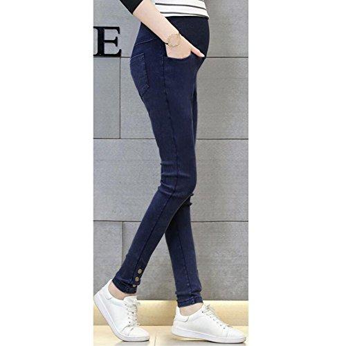 Highdas Grossesse Slim Denims Skinny Maternité Jeans pour le printemps et l'automne Bleu foncé