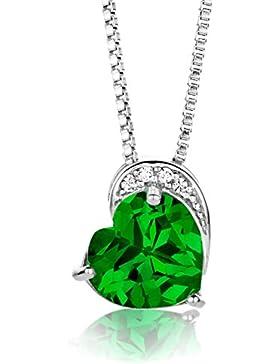 Byjoy Damen-Kette Mit Anhänger 925 Sterling-Silber Herzschliff Grün Synthetischer Smaragd 45cm