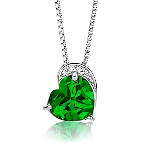 Byjoy 925 Sterling Silver Heart Shape Emerald Pendant on a Box Chain of Length 45cm
