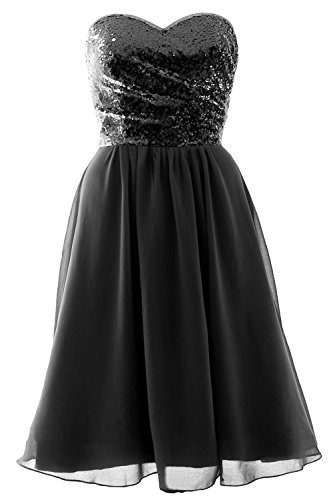 MACloth Elegant Strapless Short Bridesmaid Dress Sequin Chiffon Formal Gown Black