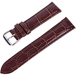Supplylink Women Men Leather Band Stainless Steel Buckle Watch Band Strap 22mm
