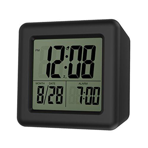 MoKo Digital Wecker, Wecker Alarm Tisch Nachttisch LCD Display  Batteriebetriebene Kleine Uhr Mit Snooze Funktion/Kalender /  Hintergrundbeleuchtung Für ...