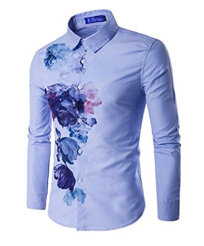 DaDag- Freizeithemd Unique Weiß Druck Hemd Herrenhemd Slim Fit Langarmhemd Mit Muster Shirt (XXL, Blau) (Seide Shirts Bowling)