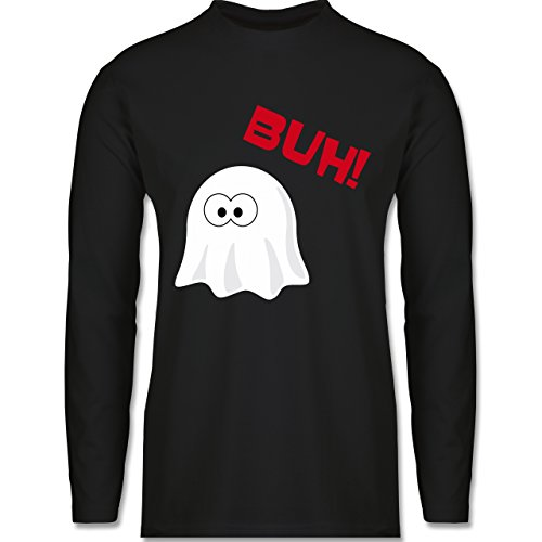 Halloween - Kleiner Geist Buh süß - Longsleeve / langärmeliges T-Shirt für Herren Schwarz