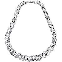 ParticolarModa Collana stile dodo nodini intrecciato per donna in alluminio e acciaio Dorato Argentato Bronzo Fumè 10 mm
