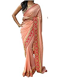 SAREES For Women Party Wear Designer Today Offers In Low Price Sale Peach Color And Georgette Fabric Free Size...