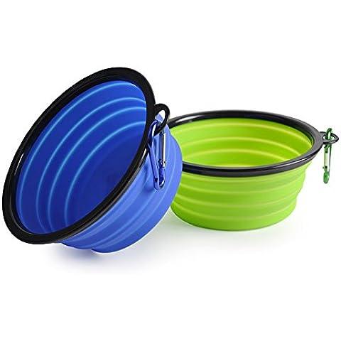 2plegable perro cuenco de calidad alimentaria de silicona libre de BPA aprobado por la FDA plegable extensible Copa Dish para Pet Cat Food Agua Alimentar Tazón de viaje portátil libre mosquetón (azul, verde)