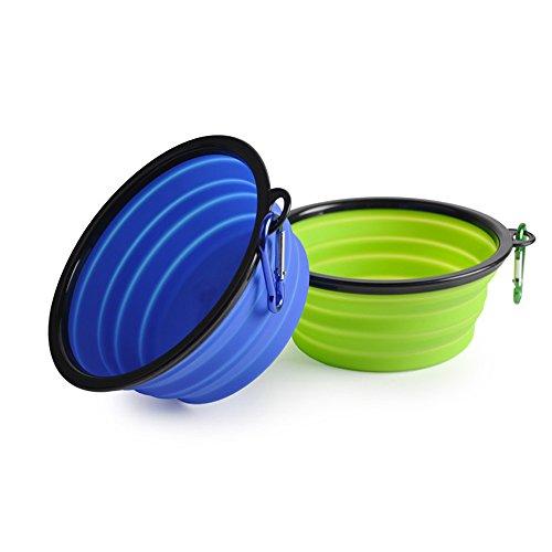 2pieghevole cane ciotola Food Grade Silicone Bpa libero approvato dalla FDA piatto pieghevole espandibile Cup per Pet Cat Food Water Feeding Portable ciotola da viaggio moschettone (Blu, Verde)