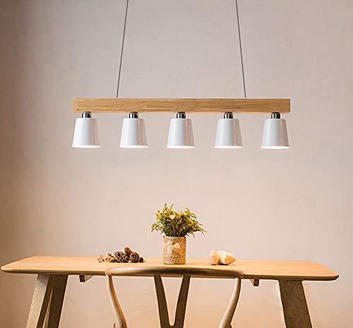 ZMH Pendelleuchte Hängeleuchte esstisch 5-Flammig Pendellampe Holz und Metall Hängeleuchte Hängelampe retro E27 Leuchtmittel für Esszimmer (Weiß)
