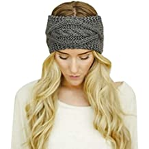Sannysis® Invierno de la Mujer sombrero caliente; Esquí de punto diadema (Gris Oscuro)