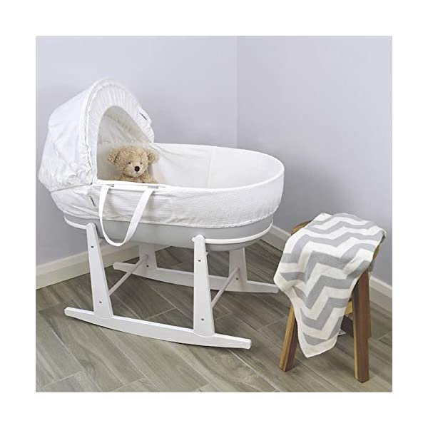Shnuggle Moses Basket with White Waffle Cotton Dressing, Hood and Mattress - Pebble Grey Basket  Shnuggle Modern Moses Basket with stay up hood Hypoallergenic and easy to clean Super strong and long lasting 2