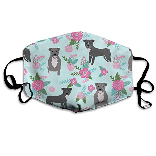 Pitbull Dog Floral - Pitbull Cheater Quilt E Floral Pink & Petal Anti-Staub-Maske, Anti-Verschmutzung, waschbar, wiederverwendbare Mundmasken