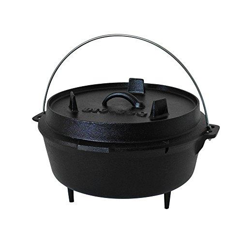 ToCis Big BBQ Premium DO 6.0 Dutch-Oven aus Gusseisen | Fertig eingebrannter 12er Koch-Topf aus Gusseisen | mit Deckelheber und Deckelständer | mit Füßen