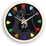 "[Sponsored]Cubikfeet Creations 11"" Music Inspired Guitar Pick Design Wooden Frame Decorative Wall Clock With Glass Cover"