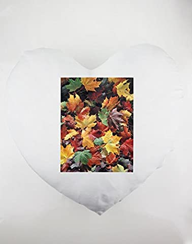 Heartshaped pillow with Autumn Leaves