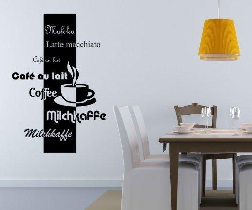 Caffè D'arte Parete varietà Caffè Moka parete Cucina caffè Detto Adesivo 5Q603 - Nero Opaco, (Opaco Trasferimento)