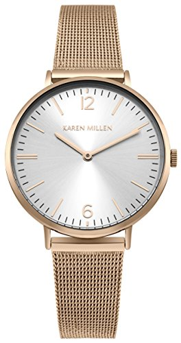 Karen Millen Womens Analogue Classic Quartz Watch with Stainless Steel Strap KM163RGM
