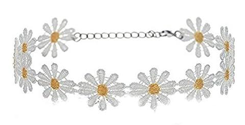 Retro Boho Daisy Flower Choker Chain Hippie Chick Lace Necklace Delicate Yellow & White - Big Daisy