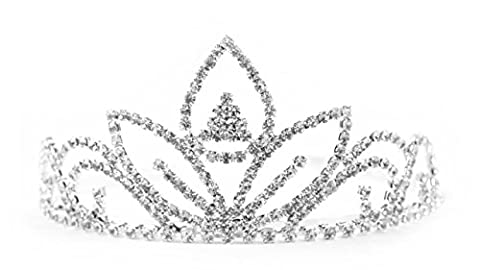 Lasting Keepsakes 1-Piece Tiara with Rhinestones, 5-Inch Wide by 2.25-Inch Tall, Flower Design