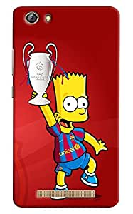 Omnam Cartoon Holding Football Cup Printed Designer Back Cover Case For Gionee Marathon M5 Lite