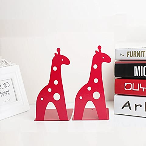 Befitery Kinder Süß 2 Stück Bücherstützen Kreative kinder Eisen Bücher Briefpapier Einfache Tische Kinder Tier bookend (Hirsche, Rot)