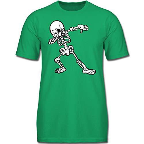 Anlässe Kinder - Dabbing Skelett - 140 (9-11 Jahre) - Grün - F130K - Jungen Kinder T-Shirt