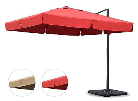 Sekey® Sonnenschirm 300 x 300 cm Aluminium-Sonnenschirm Marktschirm Gartenschirm Terrassenschirm Ampelschirm Kurbelschirm Terracotta Quadratisch Sonnenschutz UV50+ 23kg