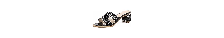 GTVERNH Zapatos de Mujer/Verano/Taladro De Agua Verano Zapatillas Zapatos De Tacon Alto Tacon 6 Cm Duro Fuera... -