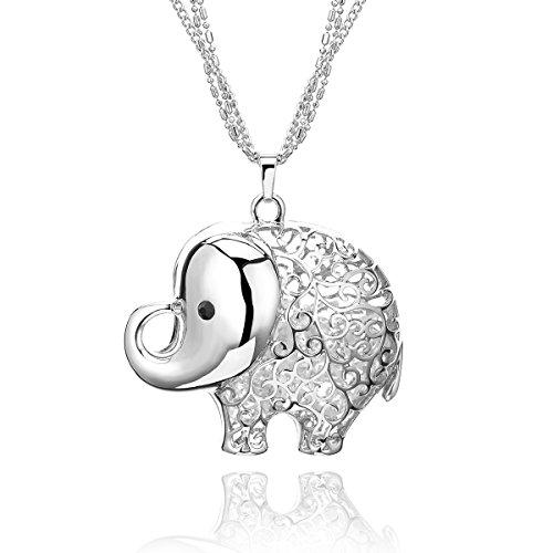 Collar para Mujer, Collar con colgante a forma de elefante collar largo de cadena de cristal collar con brillantes para niña Placcato Argento