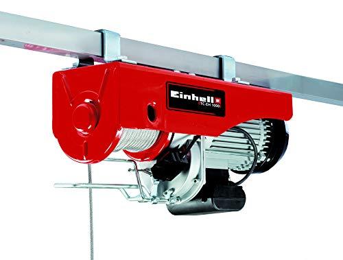 elektro seilwinde 230v Einhell Seilhebezug TC-EH 1000 (1.600 W, 500 kg auf 18 m, 999 kg auf 9 m, Not-Aus, autom. Bremse, autom. Endabschaltung, inkl. Umlenkrolle + Sicherheitsbügel, 18 m drallfreies Drahtseil Ø 6 mm)