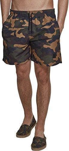 Urban Classics Herren Shorts Camo Swimshorts, Mehrfarbig (Wood Camo 00841), XX-Large (Herstellergröße: XXL)