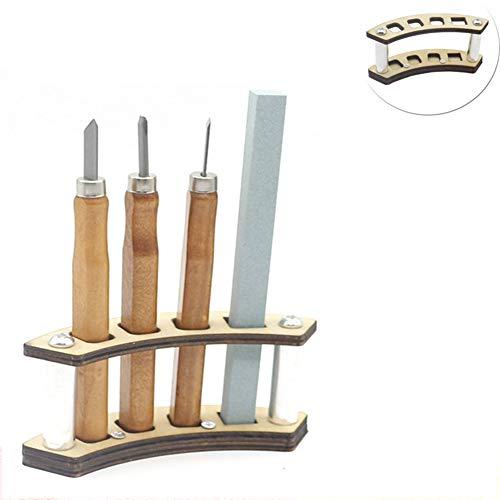 YMJJ Holzschnitzmesser-Meißel-Werkzeugsatz, 3-TLG. Holzschnitzerei-Werkzeugsatz mit Werkzeughalter Schleifstein