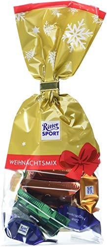 (RITTER SPORT Weihnachts-Mix Beutel (12 x 98 g), Schokoladen-Mischung aus minis und Schokowürfeln, ideal als Geschenk, zu Weihnachten & Nikolaus, mit weihnachtlichen Sorten)