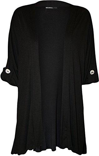 Fashion 4 Less - Gilet - Cardigan - Uni - Femme Noir - Noir