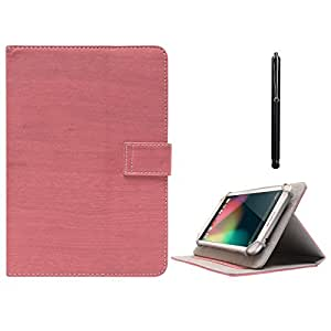 DMG Protective Flip Book Cover Stand View Case for Mitashi Sky Tab 2 (Pink) + Capacitive Touch Screen Stylus