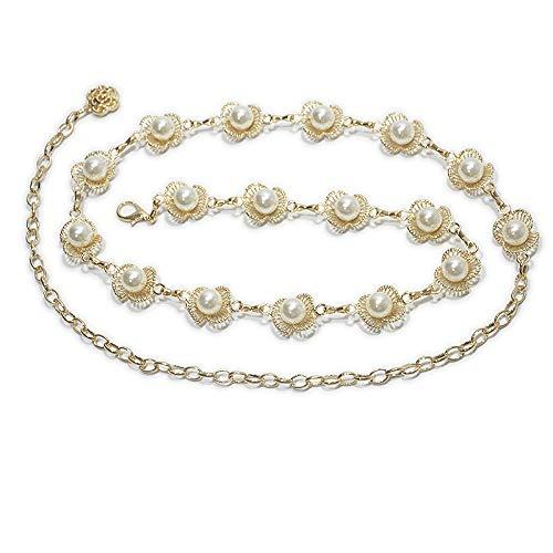 MYJ Frauen Metall Taille Kette - Ethnischen Stil Perle Sailor Dance Körper Kette - Bauchtanz Taille Kette,Gold,A