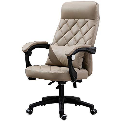 LJFYXZ Bürostuhl mit hoher Rückenlehne Kunstleder Dicker Schwamm Chefsessel Latex-Pad ergonomisches Design Schreibtischstuhl Belastbar bis 150 kg (Color : Khaki) -