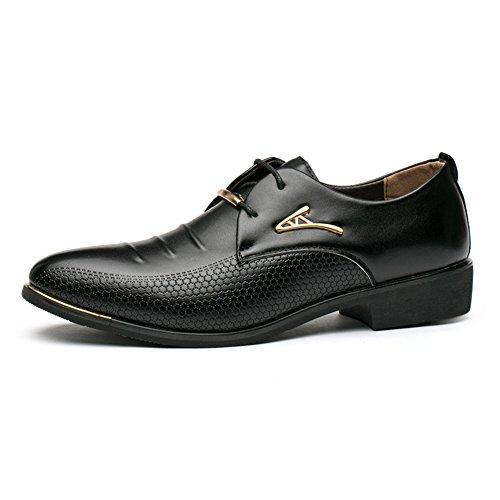 BAINASIQI Herrenschuhe Herren Schnürhalbschuhe Elegant Businessschuhe Lederschuhe Hochzeit Schuhe (EU 42, Schwarz-1)