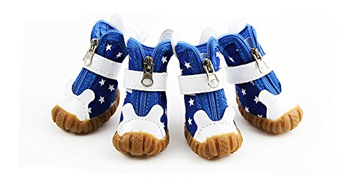 XiYunHan Pet Sneakers Schuhe, Rutschfeste Stiefel Metall Reißverschluss Klettverschleißfeste Oxford Schuhe 4 Stück Sport Dog Boots 2 Farbe & 5 Größe (Color : Blue, Size : 3#)