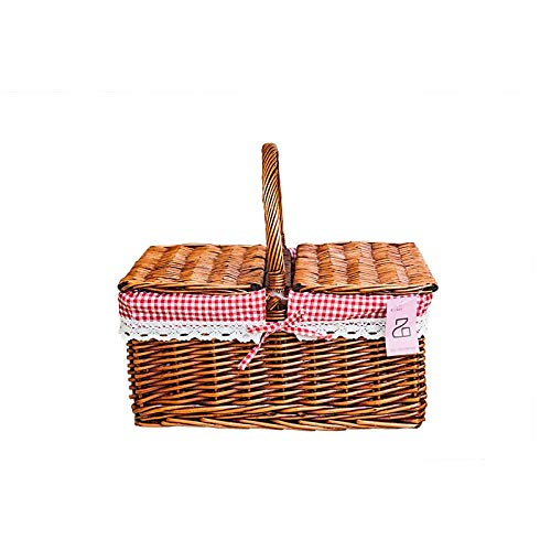 Picknick Korb Willow Rebe mit Cover handverlesen Outdoor Picking Shopping Fruit Snacks 40 x 30 x 36cm dunkel Cover Willow