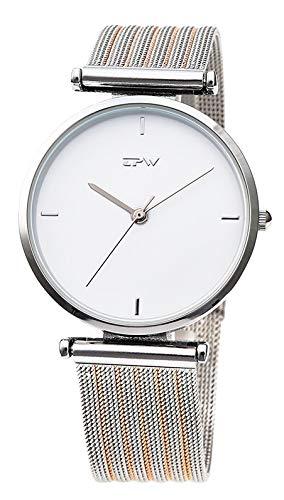 PLKNVT Neue Hochwertige Mode Montre Femme Reloj Mujer Leder Edelstahl Damenuhr Quarz Armbanduhren FrauenRose Gold Zwei ton (Zwei-ton-uhren Für Frauen)
