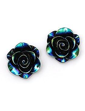Idin Ohrclips - Schwarze, glänzende Rose in AB Farbe (Regenbogeneffekt) (ca. 19 x 19 mm)