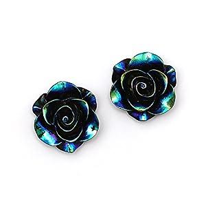 Idin Ohrclips – Schwarze, glänzende Rose in AB Farbe (Regenbogeneffekt) (ca. 19 x 19 mm)