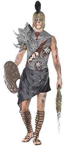 cher Gladiator Halloween Antike Warrior Soldaten Kämpfer Kostüm Kleid Outfit - grau, Large (Gladiator Halloween-outfit)
