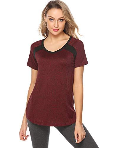 Sykooria Sport Shirt Damen Yoga T Shirt Atmungsaktiv Leicht Dehnbar Elastisch Fitness Joggen Sportshirt Damen Weinrot