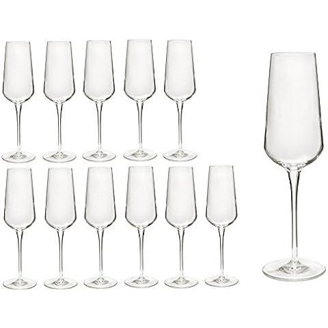 Set di 12bicchieri da spumante/champagne flute da Champagne/inalto bicchieri in vetro cristallo di prima qualità, migliore resistenza alla rottura, design in filigrana